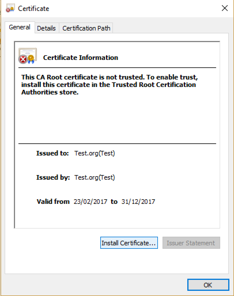Install certificate (Test.cer) to local machine