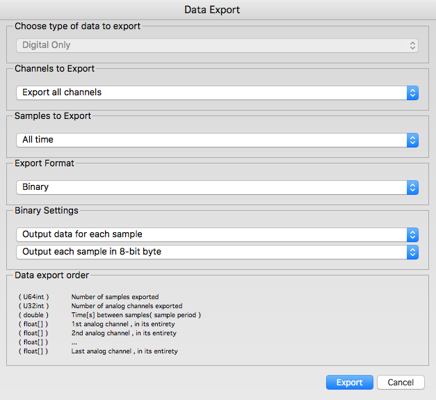Saleae Logic Data Export dialog